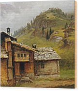 Mountain House  Wood Print by Albert Bierstadt