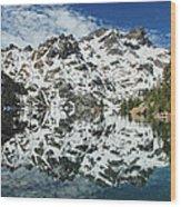 Mountain In The Mirror Wood Print