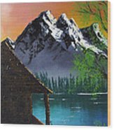 Mountain Lake Cabin W Eagles Wood Print