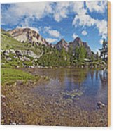 Mountain Lake In The Dolomites Wood Print