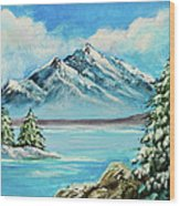 Mountain Lake In Winter Original Painting Forsale Wood Print