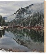 Mountain Lake Reflection Wood Print