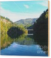 Mountain Lake Reflections Wood Print by Lorraine Heath