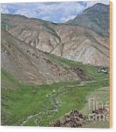 Mountain Landscape In The Tash Rabat Valley Of Kyrgyzstan Wood Print by Robert Preston