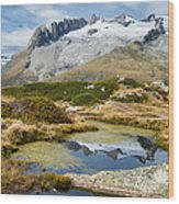 Mountain Landscape Water Reflection Swiss Alps Wood Print