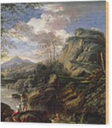 Mountain Landscape With Figures Wood Print