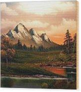 Mountain Meadow Dusk Wood Print