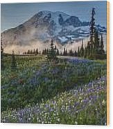 Mountain Meadow Serenity Wood Print