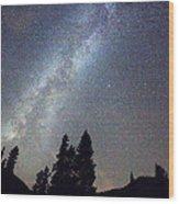 Mountain Milky Way Stary Night View Wood Print