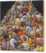 Mountain Of Gourds And Pumpkins Wood Print