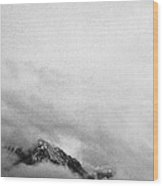 Mountain Peak In Clouds Wood Print