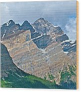 Mountain Peaks From Bow Summit Along Icefield Parkway In Alberta Wood Print