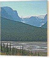 Mountain Peaks From Icefields Parkway-alberta Wood Print