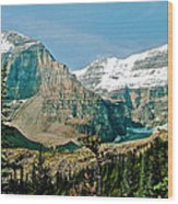 Mountain Peaks From Plain Of Six Glaciers Trail In Banff Np-albe Wood Print