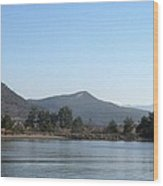 Mountain Pines And Sea Shore Wood Print