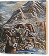 Mountain Ram Wood Print