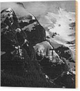 Mountain Range Black And White Two Wood Print by Diane Rada