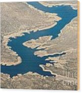 Mountain River From The Air Wood Print