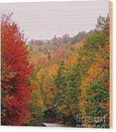 Mountain Road In Fall Wood Print