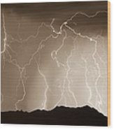 Mountain Storm - Sepia Print Wood Print