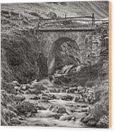 Mountain Stream With Bridge Wood Print