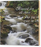 Mountain Stream With Scripture Wood Print
