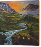 Mountain Streams Wood Print
