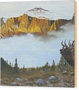 Mountain Sunrise Echoes Wood Print