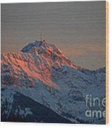 Mountain Sunset In Switzerland Wood Print