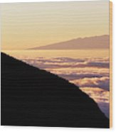 Mountain Top Above The Clouds Wood Print