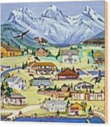 Mountain Town Of Canmore Wood Print
