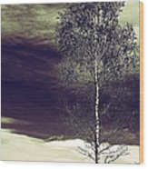 Mountain Tree Wood Print