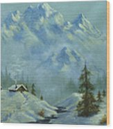 Mountain View With Creek Wood Print