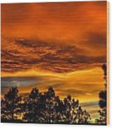 Mountain Wave Cloud Sunset With Pines Wood Print