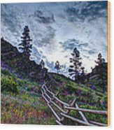 Mountain Wooden Fence  Wood Print