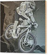 Mountainbike Sports Action Grunge Monochrome Wood Print
