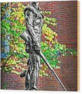 Mountaineer Statue Wood Print
