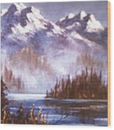 Mountains And Inlet Wood Print