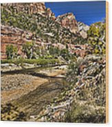 Mountains And Virgin River - Zion Wood Print