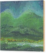 Mountains At Night Wood Print