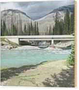 Mountains Green River Under Bridge Wood Print