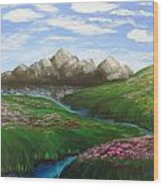 Mountains In Springtime Wood Print