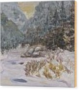 Mountains In The Snow Wood Print