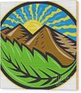 Mountains Leaf Sunburst Retro Wood Print