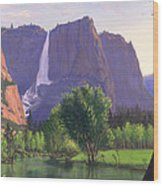 Mountains Waterfall Stream Western Mountain Landscape Oil Painting Wood Print