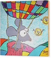 Mouse In Balloon Wood Print