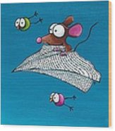 Mouse In His Paper Aeroplane Wood Print
