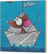 Mouse In His Paper Boat Wood Print