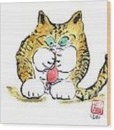 Mouse Toy And Tiger Kitten Wood Print