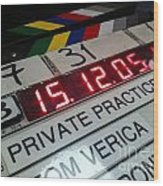 Movie Slate From Private Parctice Wood Print